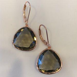 Jewelry - New Rose gold Smokey quarts drop earrings